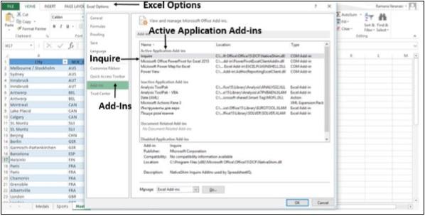 Complementos de aplicaciones activas