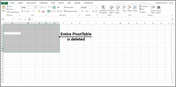 Eliminar toda la tabla dinámica