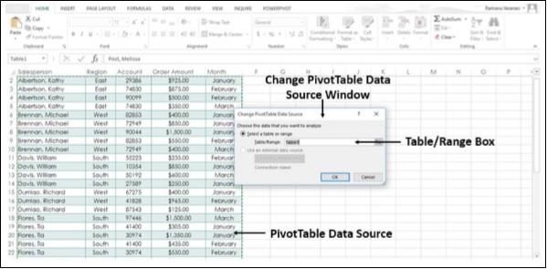 Cambiar la fuente de datos dinámica