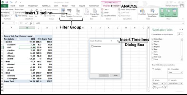 Insertar filtro de línea de tiempo
