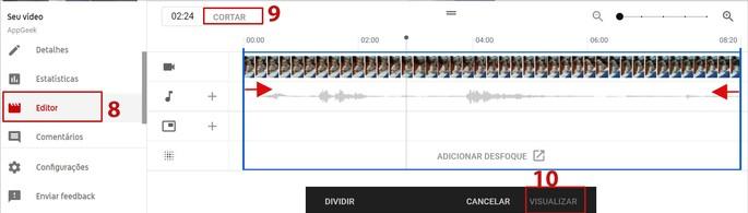 Cortar video en YouTube Studio