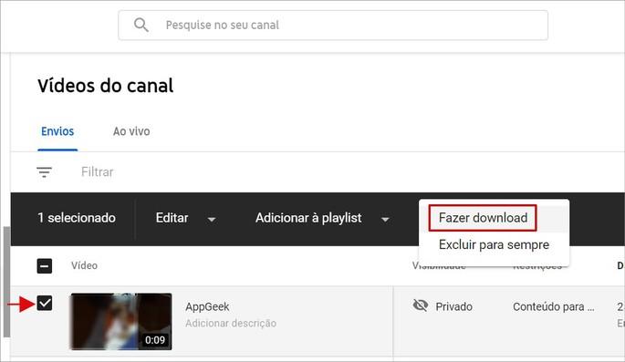 Descargar video en YouTube