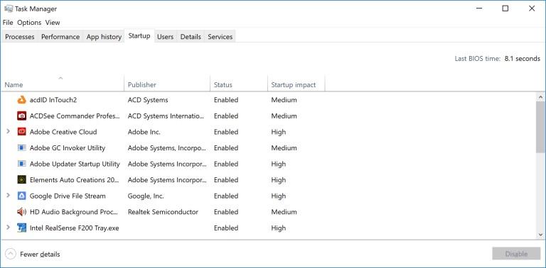 Procesos de inicio en el Administrador de tareas de Windows 10
