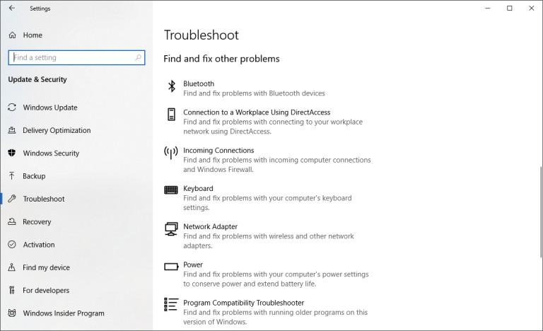 Solucionadores de problemas de Windows 10