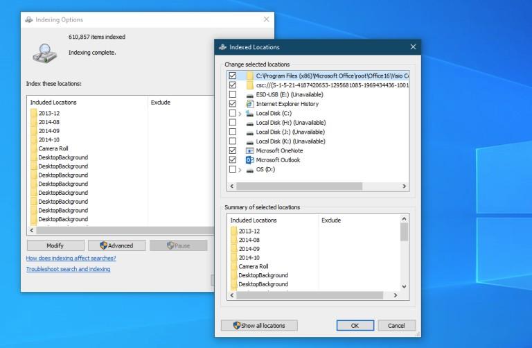 Indexación de búsqueda en Windows 10