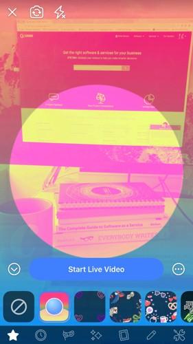 Seleccionar sus filtros y lentes en vivo de Facebook