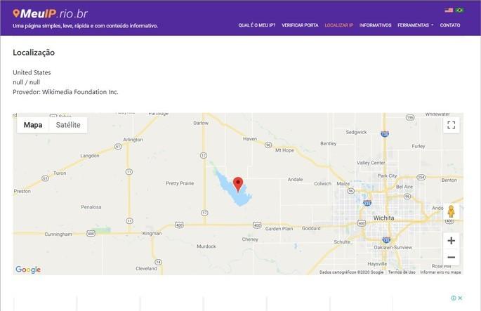 Resultado de la búsqueda de la geolocalización del correo electrónico en el sitio Mi IP
