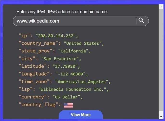 Resultados de búsqueda en el sitio web IPGeolocation