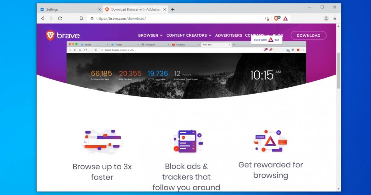 Ventanas de navegador valientes con página de inicio
