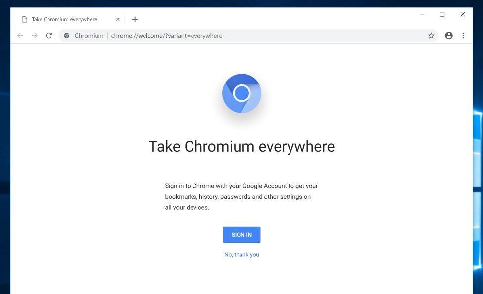 Navegador Chromium en PC con Windows