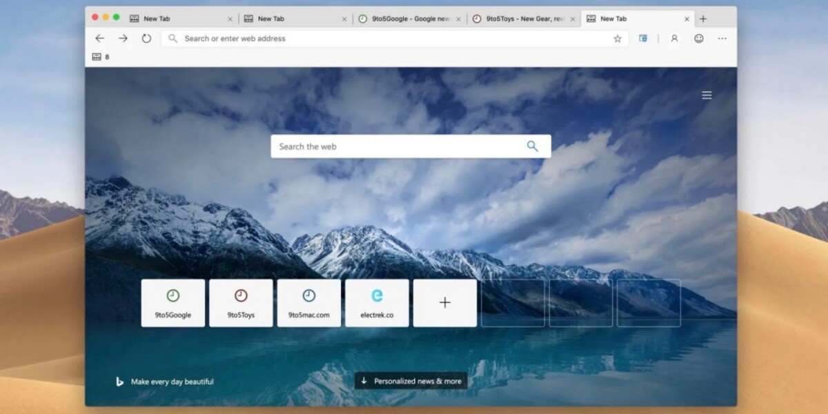 Microsoft Edge Chromium en Mac con página de inicio