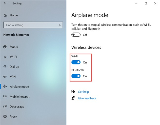Habilite o deshabilite Wi-Fi y Bluetooth individualmente