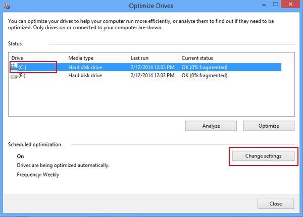 seleccione un disco duro y toque cambiar configuración
