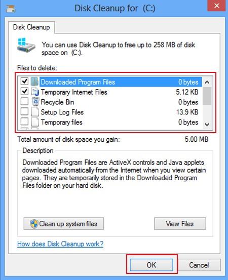 seleccione archivos y haga clic en Aceptar