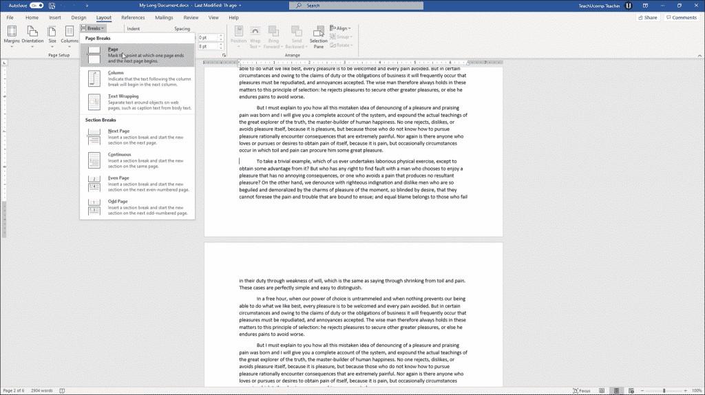 Establecer saltos de página en Word: tutorial e instrucciones: una imagen de los diferentes tipos de saltos disponibles en Word.